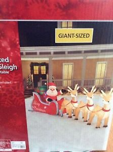 Inflatable 16ft Lighted Santa Sleigh Christmas Yard Decoration