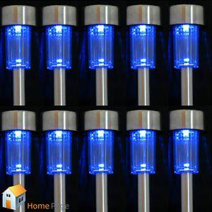 10x Solar Powered Blue LED Steel Lamp Light Outdoor Home Garden Path Lighting