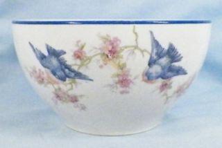 Vintage Bluebird Waste Bowl Homer Laughlin Blue Edge Trim Tea Leaves Bags Beauty