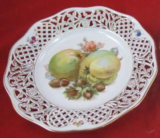 Vintage Plate Schumann Bavaria Germany Hand Painted Pierced Sides Gold Trim