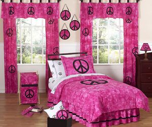 Sweet JoJo Designs Cheap Pink Tie Dye Peace Sign Teen Kids Twin Girl Bedding Set