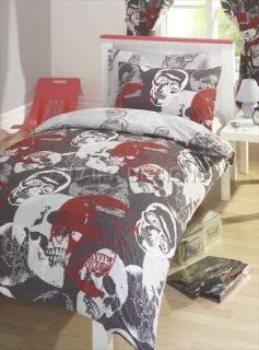 Scary Skulls Kids Reversible Bedding Bed Set Single Double