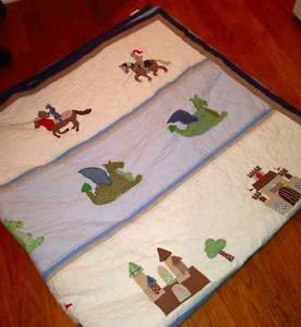 Pottery Barn Kids Quilt Boys Knight Castle Dragon Queen Coverlet Girls Bedding