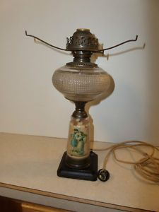 "Antique Vintage Electric 15"" Hurricane Lamp Cloth Covered Cord"