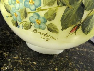 Vintage Antique 1909 Hand Painted Signed Floral Hurricane Lamp Shade