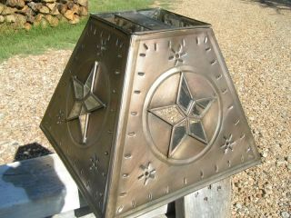 Western Lamp Shade Metal Tin Punch Glass Star Small