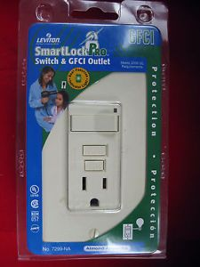 Leviton Decora Smart Lock Pro Switch GFCI Outlet 7299 NA Almond 15A