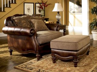 Ashby Wood Trim Chenille Faux Leather Sofa Couch Set Living Room Furniture