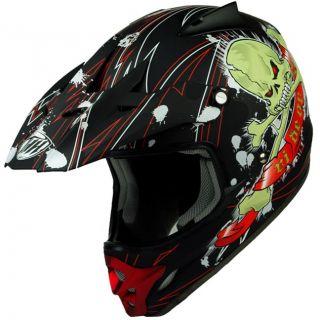 THH TX 22 Matte Black Skull Dot Snell Rated Moto ATV Quads Dirt Bike MX Helmet
