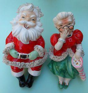 "Vintage Lefton Mr and Mrs Santa Claus Mantel Shelf Sitters 8"" Figurines 018"
