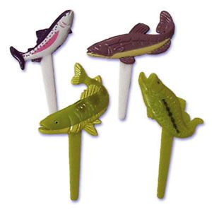 Fishing Cupcake Picks Cake Toppers Fish Trout Bass 24