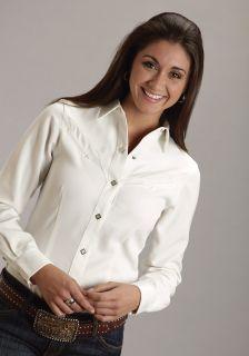 Roper Ladies Shirt Long Sleeve Western Old West White Cream Fancy Yokes 0516
