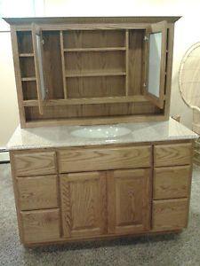 "Amish Made New Bathroom Oak Medicine Cabinet with 48"" Oak Vanity American Made"