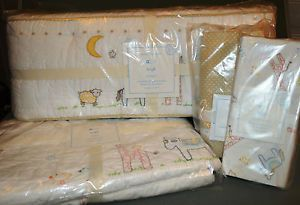 Set 4 New Pottery Barn Kids Leigh Crib Quilt Bumper Pads Bed Skirt Sheet
