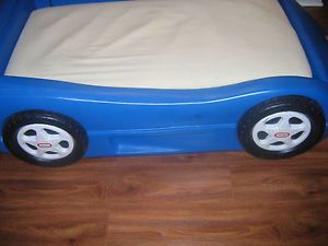 Little Tikes Blue Race Car Bed For Toddlers Mattress Mattress Cover And  Sheet ...