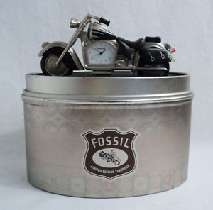Vintage Collectible Fossil Miniature Motorcycle Desk Clock Limited Edition