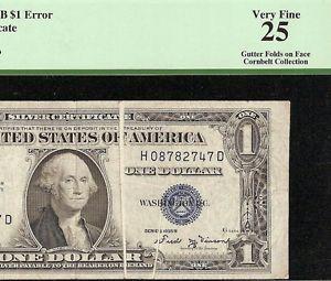 1935 B $1 Dollar Bill Gutter Fold Error Note Silver Certificate Paper Money PCGS