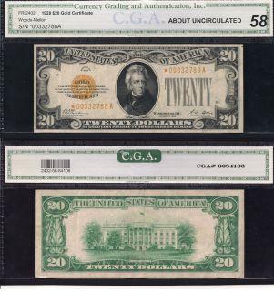 1928 $20 Twenty Dollar Bill Gold Certificate Star Note CGA Graded Cash Money