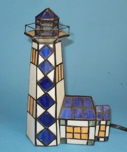 Vintage Stained Glass Electric Night Light Light House
