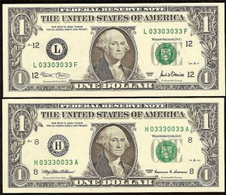 4 UNC 1995 2001 $1 Fancy 3S Serial Numbers Federal Reserve Notes Dollar Bills
