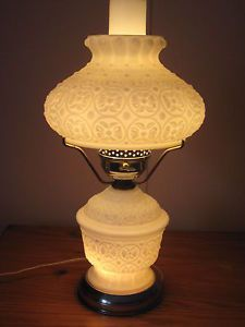 Vintage Milk Glass Hurricane Lamp Dresser Lamp Night Light