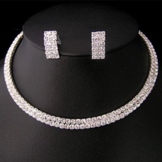 Wedding Bridal Crystal Necklace Earring Jewelry Set