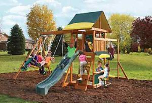 Cedar Wood Outdoor Play Swing Set Wooden Swing Fort Slide Canopy Roof Covered
