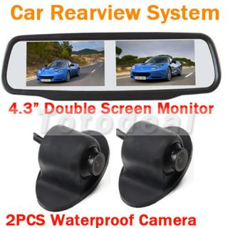 "4 3"" Car Rear View Mirror Monitor Double Screen 2 Reverse Backup Parking Camera"