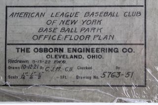 Original Yankee Stadium Architectural Plan Office Floor Plan 1921