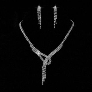 Wedding Bridal Crystal Necklace Earring Prom Party GP Silver Jewelry Set X24
