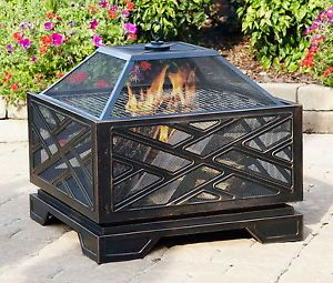 """New 26"""" Outdoor Wood Burning Fire Pit Fireplace Grill Cooking Surface Firepit"""