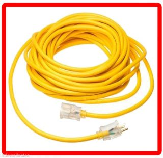 UL Listed 12 Gauge 50ft Extension Power Cord Wire w 3 Prong Plug LED Light End