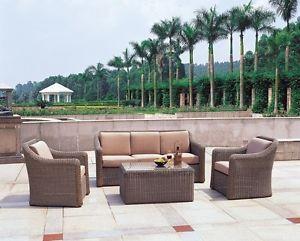 Aruba 4pcs Outdoor Patio Wicker Sofa Set Furniture Lounge Chaise Coffe Table