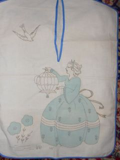 Vintage Stamped Laundry Bag to Embroider Lady and Bird Cage Very Cute