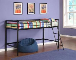 New Black Twin Sized Size Junior Metal Loft Bed Frame Kids Childs Steel Beds