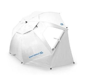 Vintage Aqua Finkel Patio Umbrella W White Fringe Blue