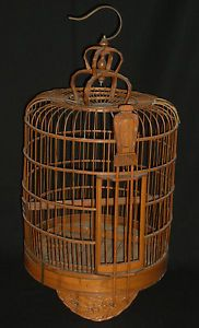 Vintage Asian Carved Bamboo Wood Bird Cage H0