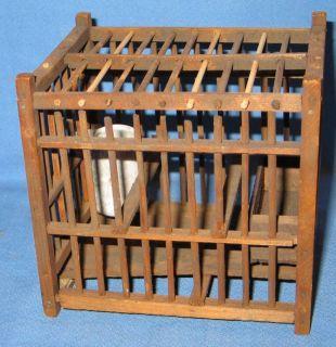 Vintage Coal Miners Miner Wood Canary Bird Cage American Folk Art