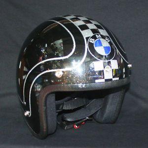3 4 Custom Paint Low Fit Retro BMW Cafe Racer Buco Metal Flake Motorcycle Helmet