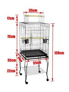 Por Bird Cage Pet Parrot Budgie Canary Cage Aviary with Stand Wheel Open Roof
