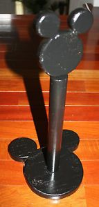 Painted Black Wood Mickey Mouse Ears Paper Towel Holder