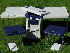 Picnic Camping Cooler Ice Chest Small Table and 2 Chairs Gray White on Wheels