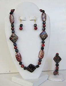 Chunky Red Black Paint Splatter 4 Piece Jewelry Set So Pretty
