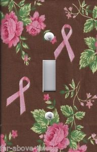 Light Switch Plate Switchplate Outlet Covers Cancer Pink Ribbons Floral Brown