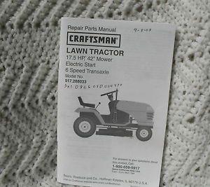 """Craftsman Lawn Tractor Model 917 288033 Repair Parts Manual 17 5 HP 42"""" Mower"""