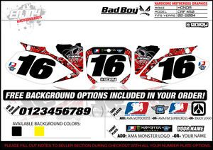2002 2004 Honda CRF 450 Team Bad Boy Number Plate Graphics