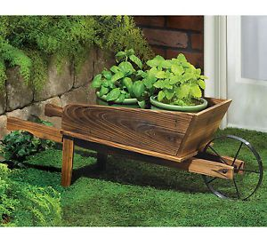 Planter Country Flower Cart Outdoor Fir Wood Wagon Plant Stand New
