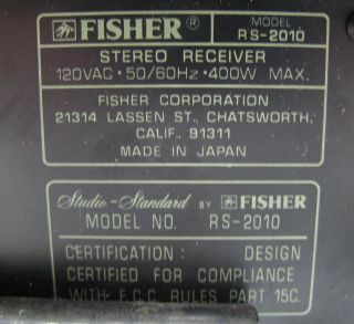 Fisher RS 2010 Vintage Stereo Receiver 400W Max