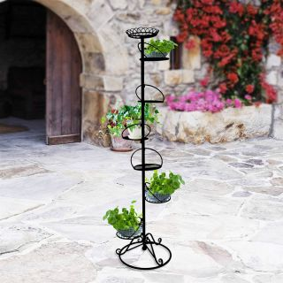 Heavy Duty 7 Holder Pot Tall Plant Planter Stand Tree Flower Tower Display C003