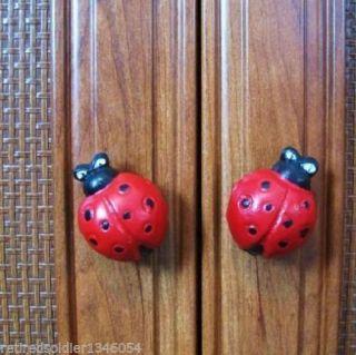 New 6 Pack Decorative Large Cast Iron Ladybug Drawer Pulls Cabinet Knobs